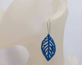 Blue wood leaf earrings
