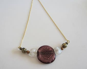 Necklace with large glass bead purple and chain 14 k gold filed gold