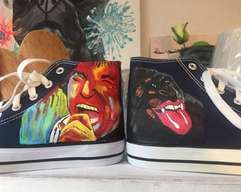 Hand-painted high sneaker rolling stones size 37