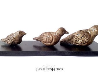 Animal figurines: triplets imitation bronze clay birds