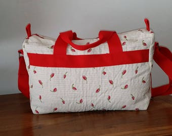 Off white and Red quilted fabric shoulder bag