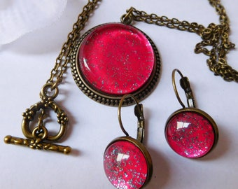Set necklace earrings fuchsia glitter