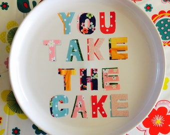 You take the cake decorative decoupage plate, dish perfect for food lovers  kitchen decor, interior design.  Engagement wedding housewarming