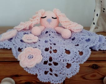Hand made crocheted comforter security blanket