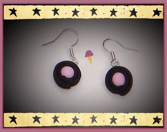 licorice and his candy pink 1.3 cm on dangling earrings