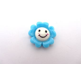 Set of 2 small flowers smiling blue
