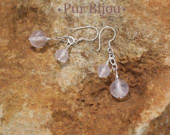 Earrings 925 Silver - Rose Quartz