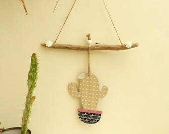 Hanging deco cactus wood-pink and white