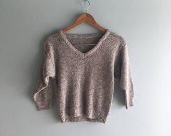 80s V Neck Knit Sweater//Grey Confetti//Doleman Sleeve