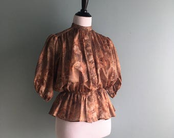 70s Peplum Button Up Blouse//Doleman Sleeve//Sheer
