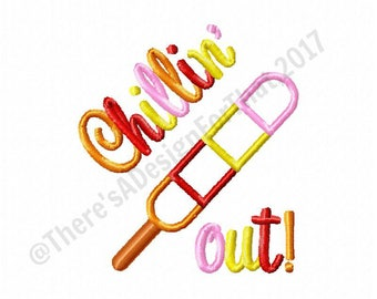 Summer embroidery design, chillin out embroidery, popsicle embroidery design