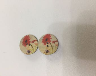 Wood set of 2 buttons