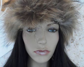 one size headband genuine raccoon fur