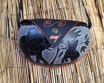 Calabash black bag carved with elephants