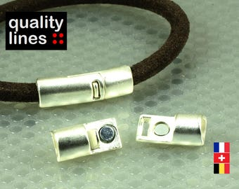 Silver magnetic clasp for leather round 5mm to 6mm bracelet