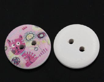 5 buttons wood cat pink - round 15 mm - 2 holes - bright colors