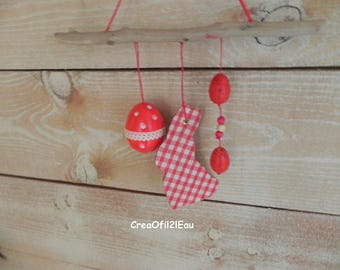 Driftwood, red rabbit and eggs mobile