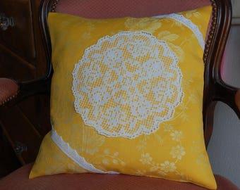 Center ref sunflower crochet Cushion cover