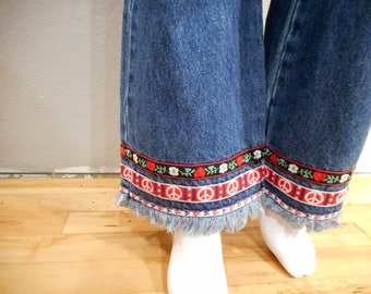 Vintage Flare Jeans/waist 30 / Paris Blues raw hem with Peace Signs, Floral ribbon, bell bottoms
