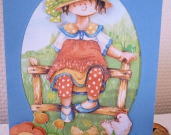 Kid 3D card: girl in the countryside and his hen