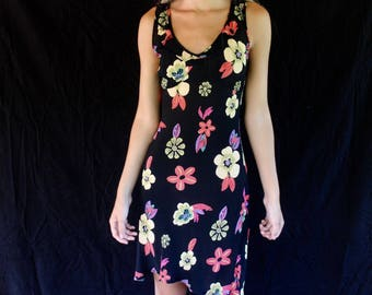 bold floral and black dress