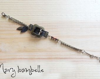 Leaf bronze buckle bracelet with recycled tractor inner