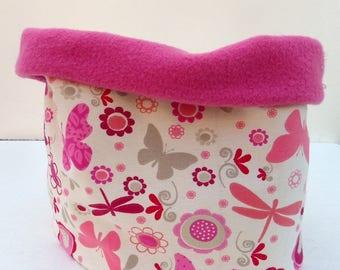 "Pink girl Snood winter Kids Jersey ""butterflies"" pink and beige fleece tube scarf"
