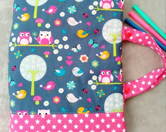 Bag of artist, drawings, coloring. OWL theme-pink stars