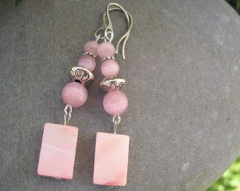 Pink cat's eye and mother of pearl earrings