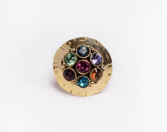 Multicolored ring with Swarovski crystals