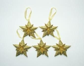 "Set of five decorative Christmas Origami stars ""Golden Arabesque"""