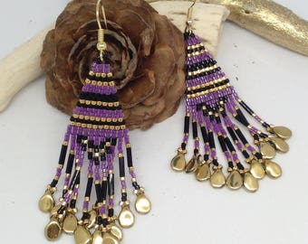 Earrings made of glass beads and plated gold
