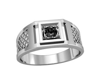 Men Ring Sterling Silver 925 with Round Black Zircona SKU30106