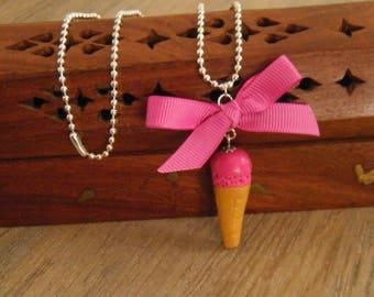 """""""Strawberry"""" ice cream cone necklace"""