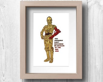 C3P0 with Red Arm - Printable Wall Art