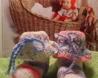 Baby girl 1-3 months booties baby Jacquard White/Blue/Pink/Purple