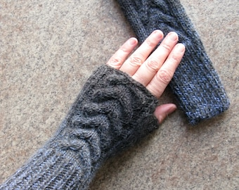 Knit Accessories Fingerless Gloves Knit Mittens Gloves Grey Women's Arm Warmers Woolen Hand Knitted Fingerless Gloves Wrist Warmers Gift