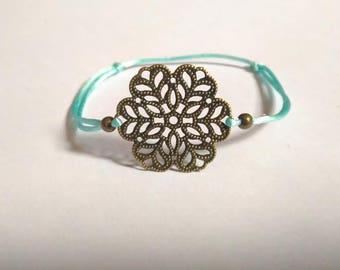 Finely engraved print rosette mandala color bracelet