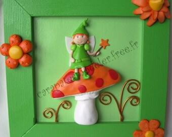 Table decorative green fairy on mushroom orange