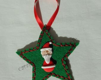 Santa Claus on green star tree decoration