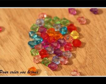 Set of 100 6mm acrylic bicone beads