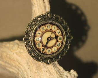 "Adjustable ring, Steampunk retro vintage ""Clock"""