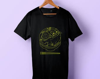Pre-Order: Limited Edition Catsu Curry T-Shirt by Food Scouts Hand Screenprinted 100% Cotton Inspired by Japanese Food, Cats and Kawaii