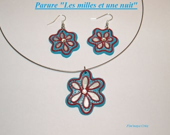 """Finery blue turquoise, red and silver oriental pattern """"the thousand and one night"""""""