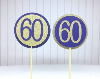"""60th Birthday Cupcake Toppers - Gold Glitter & Navy Blue """"60"""" - Set of 12 - Elegant Cake Cupcake Age Topper Picks Party Decorations"""