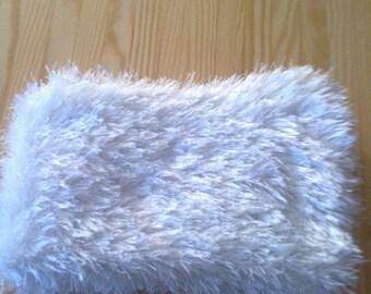 Faux fur white woolen child scarf