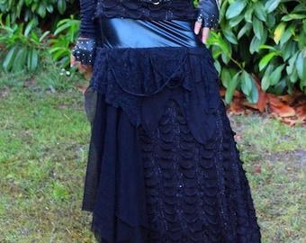 skirt long multi materials spirit Gothic dark retro and timeless