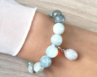 Multicolor bracelet with aquamarine and Rainbow Moonstone