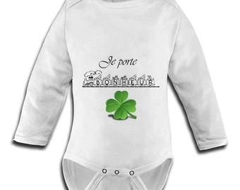 cotton Bodysuit, with image I wear happiness, clover, train child humor