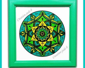 Turquoise Mandala 15 x 15 cm frame